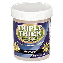 DecoArt TG01-10 Triple Thick Gloss Glaze, 4-Ounce Triple Thick Gloss Glaze (Jar)