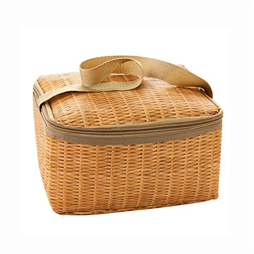 (Foreverwen Person Wicker Picnic Basket Hamper Portable Insulated Thermal Cooler Lunch Box Waterproof Heat Preservation Thickened New Imitation Rattan Plaited Picnic)
