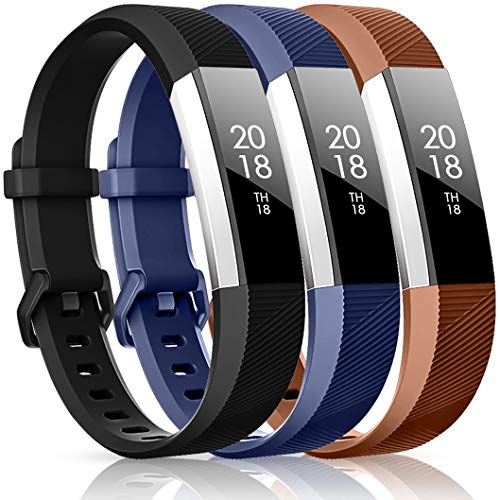 CreateGreat Compatible with Fitbit Alta HR and Alta Bands,Replacement Sport Accessory Band Wristbands with Metal Buckle(Navy/Black/Coffee Large)
