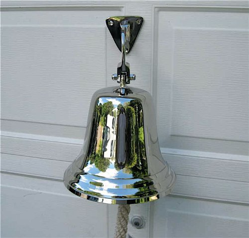 Ships Bell-large-aluminum- Polished Nickel Finish w/ Mount Bracket by SERENDIPPITY