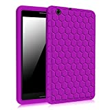 AT&T Trek 2 HD Case (Model 6461A) - Fintie [Honey Comb Series] Light Weight Shock Proof Silicone Protective Cover [Anti Slip] [Kids Friendly] for 8-inch AT&T Trek 2 HD (2016), Purple