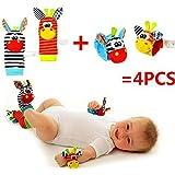 Bébé jouets hochet - Cute animal infantile 4pcs (2pcs taille et 2pcs chaussettes) doux poignet Bell sangle hochets et pied chaussettes Finder Set (Abeille)