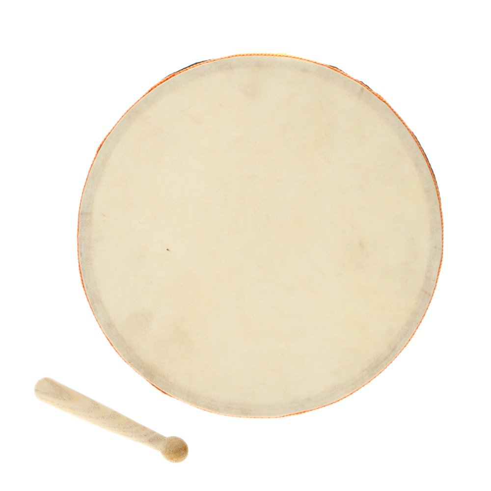 Andoer 8 Wood Hand Drum Dual Head with Drum Stick Percussion Musical Educational Toy Instrument for KTV Party Kids Toddler 1000217