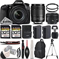 Canon EOS 80D Wi-Fi Full HD 1080P Digital SLR Camera + Canon 18-135mm IS USM Lens + Canon 50mm 1.8 II Lens + Extra Battery + 64GB Storage. All Original Accessories Included - International Version