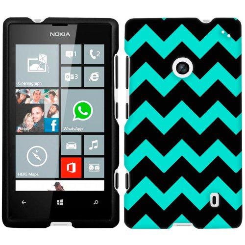 Nokia Lumia 520 Chevron Turquoise and Black Phone Case