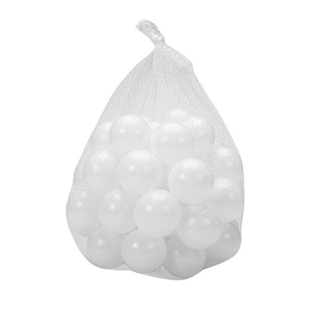Justfund 100pcs 7cm White Soft Plastic Ocean Balls BPA Free Crush Proof Plastic Ball Baby Kid Toys Swim Pit Toys Ball for Ball Pit Baby Kids Tent