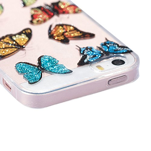 iPhone 5 SE Funda, Carcasa iPhone 5S, Moon mood Brillar Bling Caso del Teléfono Suave TPU Silicona Estuche Ultra Delgado Cubierta Trasero Protective Parachoque para Apple iPhone 5/5S/SE 4.0 pulgadas R Mariposas