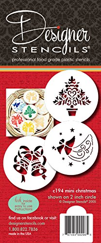 Designer Stencils C194 Christmas Cupcake and Cookie Stencils (Small), Christmas Tree - Angel - Bells, Beige/semi-transparent