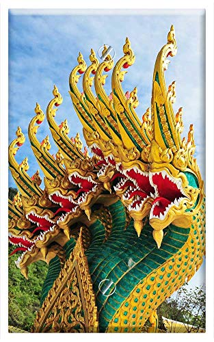 Single-Gang Blank Wall Plate Cover - Dragon Ancient Ancient Animals Architecture Buddha ()