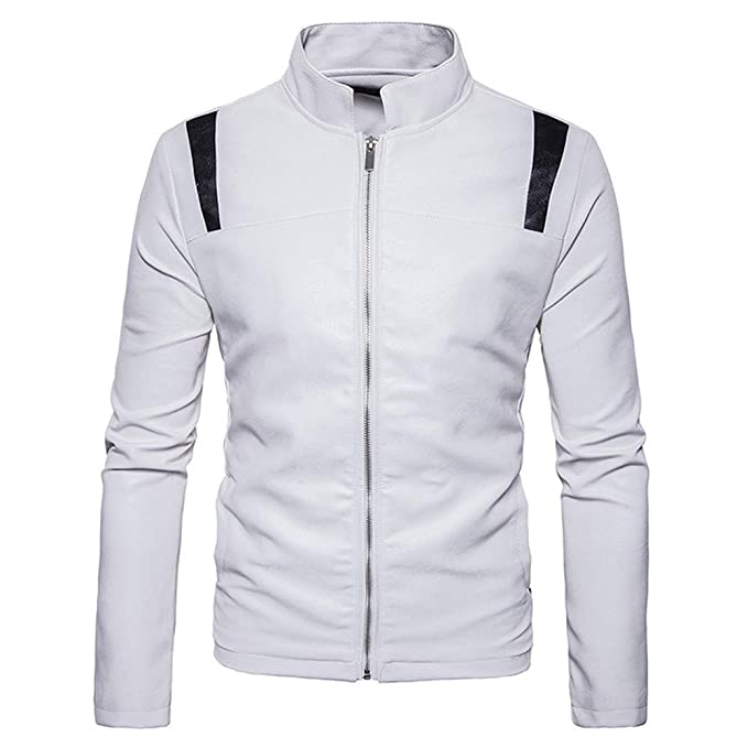Binmer Clearance Jacket Symmetrical Stitching Zipper Stand Collar Imitation Leather Coat for Men at Amazon Mens Clothing store: