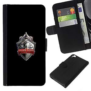 KLONGSHOP // Tirón de la caja Cartera de cuero con ranuras para tarjetas - Rusia Escudo Crest - HTC Desire 820 //