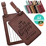 Personalized Luggage Tags with Strap + Name ID Card, 9 Colors, Leatherette Cruise Ship Accessories for Honeymoon,Gifts for Travelers, Custom Luggage Tag- Dark Brown