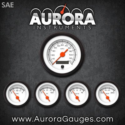 Orange Vintage Needles, Black Trim Rings, Style Kit Installed Aurora Instruments 1129 Competition White SAE 5-Gauge Set