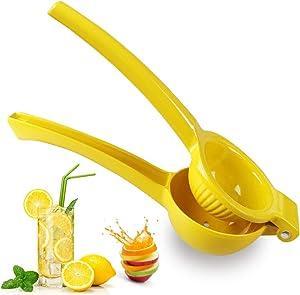 Sibosen Manual Juicer Citrus Lemon Squeezer,Fruit Juicer Lime Press Metal,Hand Juicer Kitchen Tool (Yellow)