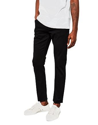 251f6aa5b57 The Idle Man Slim Fit Raw Hem Jeans Black  Amazon.co.uk  Clothing