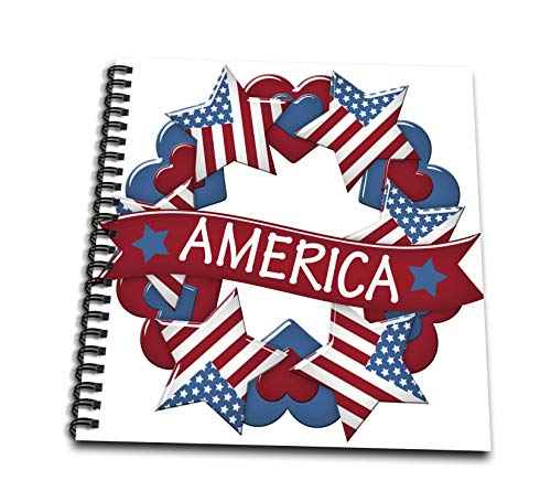 - 3dRose Anne Marie Baugh - Illustrations - Red, White, and Blue America Stars and Hearts Wreath Illustration - Mini Notepad 4 x 4 inch (db_318003_3)