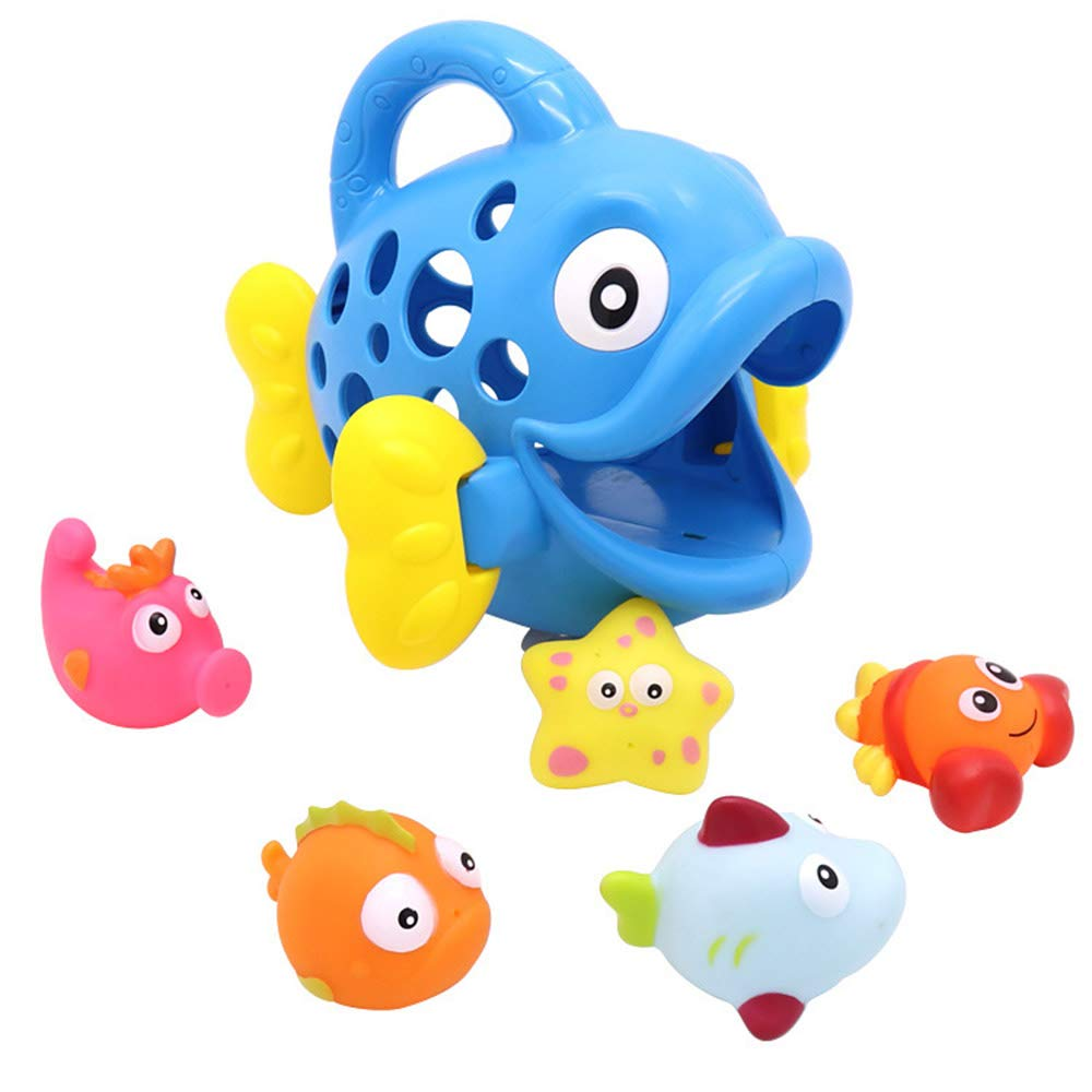 Fish, Blue Ocean Fish Family with Fishing Net Bathtub Toy Bathing Shower Toy for Babies Infants Baby Bath Toys for Toddlers Boys Girls