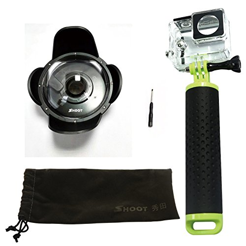 SHOOT 4'' inch Dome Port Diving Housing with Transparent Lens Cover, Waterproof Case, Lens Hood and Floaty Monopod for Xiaomi Xiaoyi Yi 1 Action Camera Underwater Photography