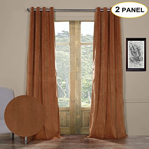 Artdix Blackout Curtains Panels Window Drapes - Rusty Gate 50W x 102L Inches (2 Panels) Velvet Lined Grommet Top Nursery Insulated Solid Thermal Custom Curtains For Bedroom, Living Room, Kids Room