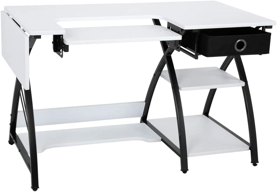Fashion Designer Work Table Computer Table Studio and Office Area Adjustable Sewing Table Handmade Table White Suitable for Home