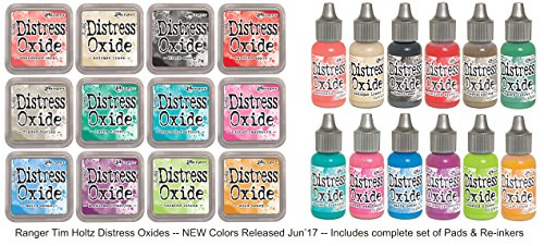 Ranger Tim Holtz Distress Oxides June 2017 Release No. 2 Bundle Includes: all 12 Pads and all 12 Re-Inkers