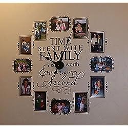CL205 Family Photo Vinyl Decal Clock (Black)