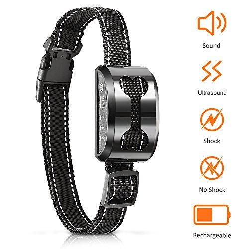 POP VIEW Bark Collar Control Device with Beep Ultrasound Harmless Shock Rechargeable for Small Medium Large Dog