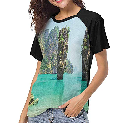 Island,Printed Crew Neck Casual Tee Tops S-XXL(This is for Size Medium) James Bond Stone Island Landscape in Tropical Beach Cruising Journey of Life Pho,Womens Raglan Baseball T-Shirt ()