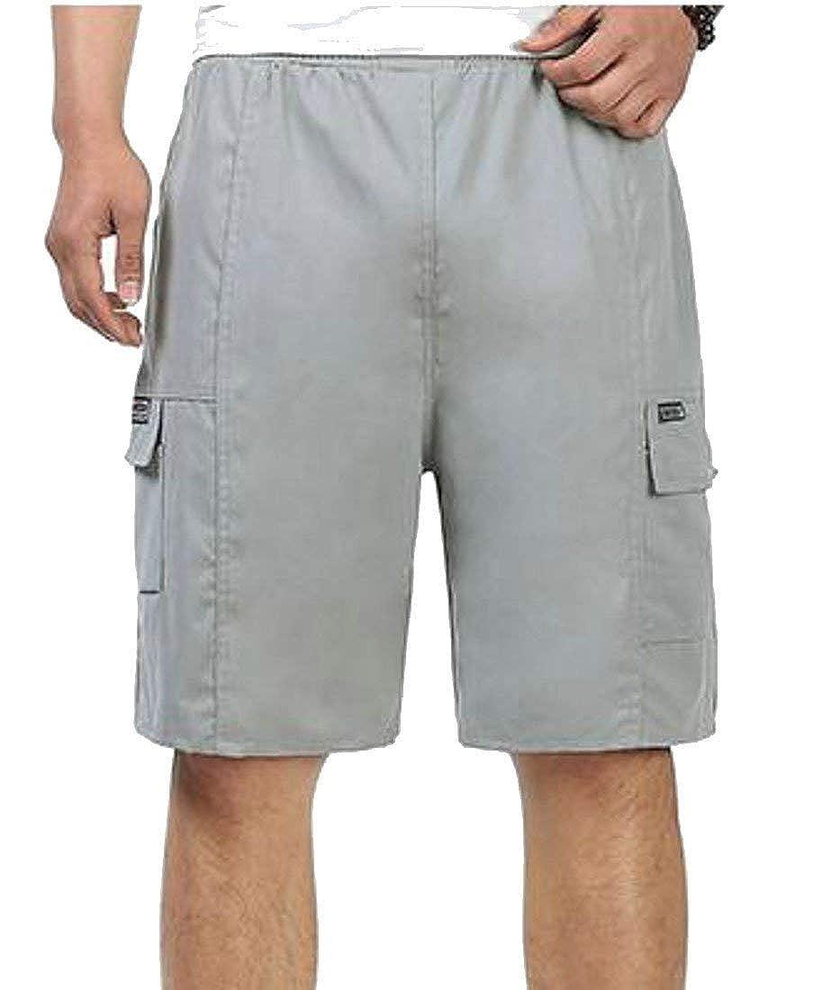 Joe Wenko Men Straight Leg Elastic Waist Cotton Beach Simple Pure Color Big and Tall Short