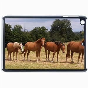 Customized Back Cover Case For iPad Mini 2 Hardshell Case, Black Back Cover Design Horse Personalized Unique Case For iPad Mini 2