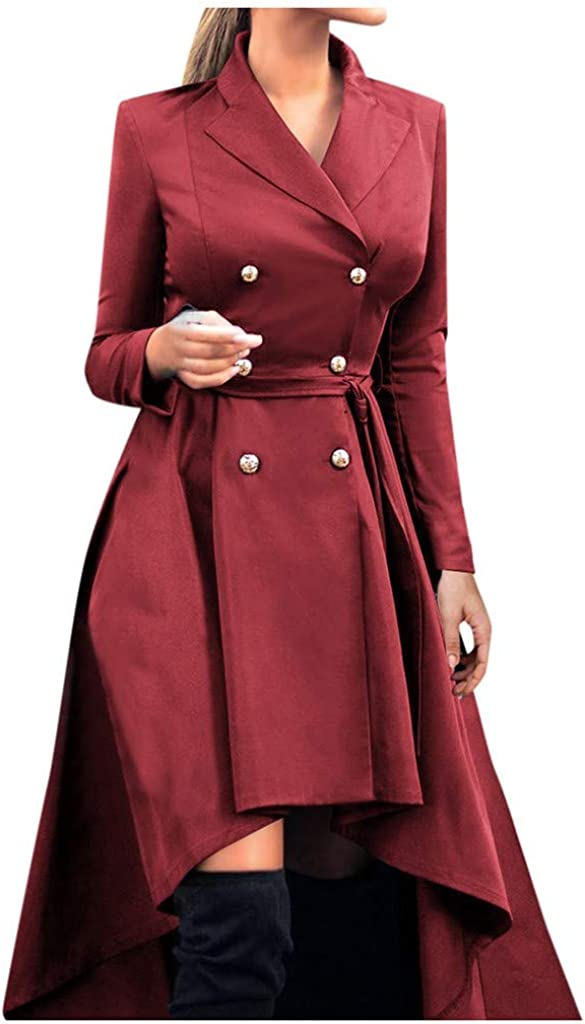 Goutique Vintage Trench Coat Womens Lapel Double Button Steampunk Swallow Tail Long Trench Coat Jacket Thin Outwear
