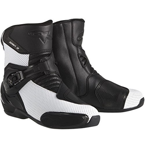 Vented Racing Boots - Alpinestars SMX-3 Men's Vented Motorcycle Street Boots (Black/White, EU Size 44)