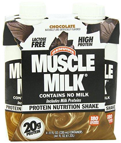 Muscle Milk Protein Nutrition Shake - Chocolate - 4 Bottles, 11 Oz. Each Bottle