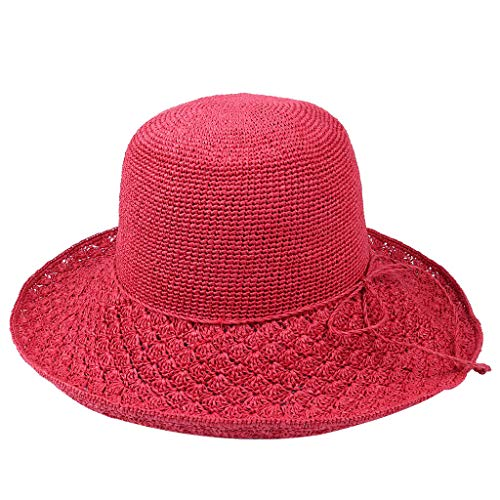 HYIRI Fisherman's hat Straw Hat Women Summer Fine Handing Foldable Fisherman Hat Red