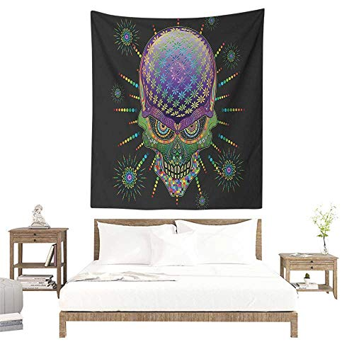 Willsd Psychedelic DIY Tapestry Digital Mexican Sugar Skull Festive Ceremony Halloween Ornate Effects Design Home Decorations for Bedroom Dorm Decor 70W x 93L INCH Multicolor -