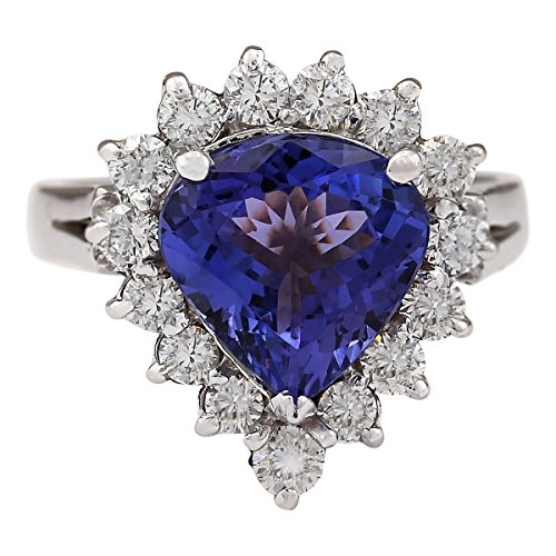 (3.6 Carat Natural Blue Tanzanite and Diamond (F-G Color, VS1-VS2 Clarity) 14K White Gold Engagement Ring for Women Exclusively Handcrafted in USA)