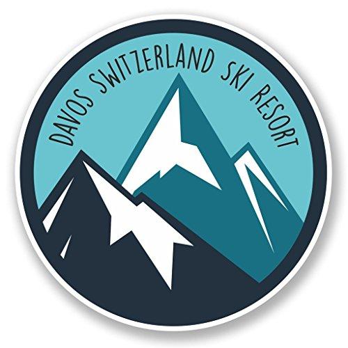 2 x 10cm- 100mm Davos Switzerland Ski Snowboard Resort Vinyl SELF ADHESIVE STICKER Decal Laptop Travel Luggage Car iPad Sign Fun #6442
