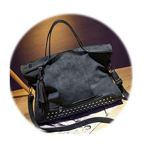 Bolish Rivet Vintage Pu Leather Fashion Tassel Messenger Shoulder Bag Larger Top-Handle Travel Bag,Black