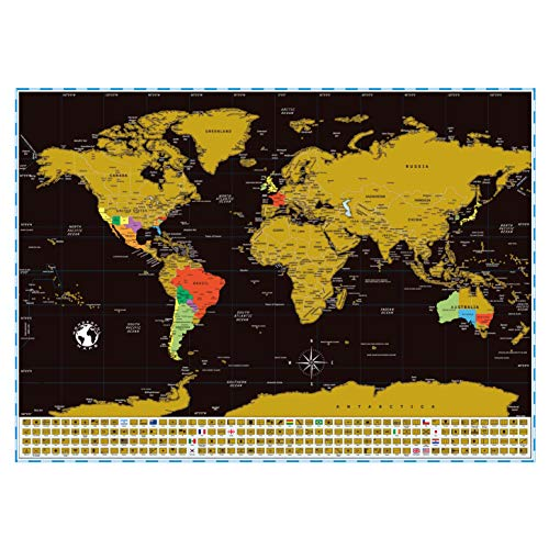 Scratch Off Map of The World with US States, Countries, Capitals and Flags On Black Background, 17 x 24 inch. World Scratch Off Travel Map Poster Wall Maps. Travel Gift for Travelers Honeymoon Gifts