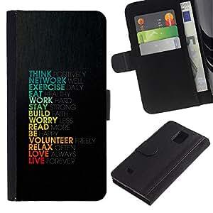 Billetera de Cuero Caso Titular de la tarjeta Carcasa Funda para Samsung Galaxy Note 4 SM-N910 / Life Love Work Positive Motivational Quote Think / STRONG