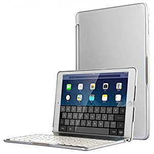 iPad Mini 4 Case With Keyboard Bosssee Bluetooth Wireless Keyboard Folio Cover for iPad Mini 4 Tablet with 130 Degree Rotation 7 Colors Backlit Aluminum Body Auto Wake Sleep (Silver)