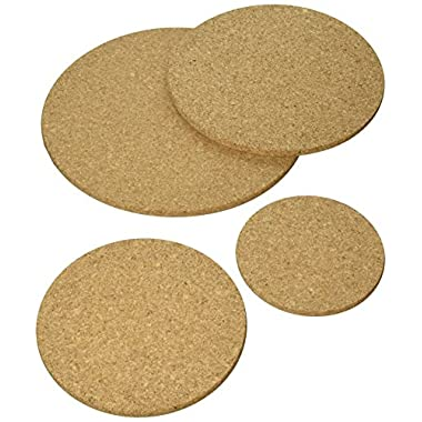Extra Large Pack of 4 Round Cork Trivet Kit for kitchen Set pads heat hot pot - 100% Quality Portuguese Cork - Without additives - Sizes 11.8 Inches + 9.8 Inches + 7.8 Inches + 5.9 Inches