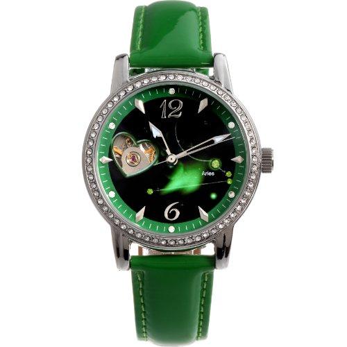Time100 Sternzeichern Armbanduhr für Damen Leder Automatik Wasserdicht Analog Widder W80050L.01A