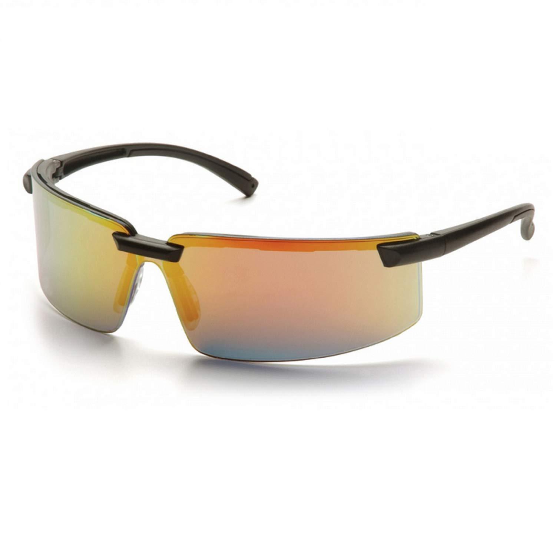 (12 Pair) Pyramex Surveyor Glasses Black Frame/Ice Orange Mirror Lens (SB6145S)