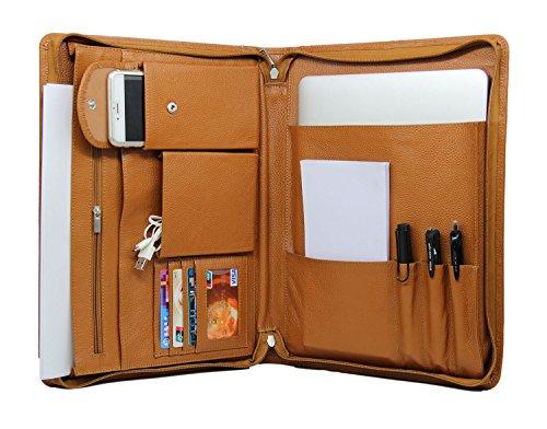 Professional Padfolio Organizer Genuine Leather Full-grain Litchi Lines Business Portfolio Case for MacBook Air/Pro-13 inch by coface