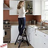 Wooden Stepladder, Folding Step Stool, 2 Steps, Folded Flat Step Stool, Home Decor Design, Easy Storage, Mahogany & Ebook Home Decor