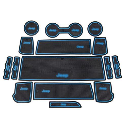 ROCCS 15PCS BLUE Interior Mats, Anti-dust Non-Slip Mat Door Mat Cup Pad Floor Holder Mats with logo For 2011 2012 2012 2014 2015 Jeep Compass Patriot (Blue-Logo)