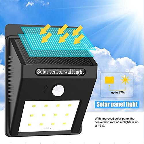 TBAO 12 LED Outdoor Solar Sensor Lights, Wall Lamps, Garden Lights, Garden Lights, Spotlights