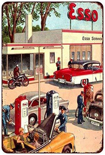 qidushop Esso Gasoline - Placa Decorativa de Metal para Pared, 30 x 45 cm, diseño de Mapa de la estación de Servicio