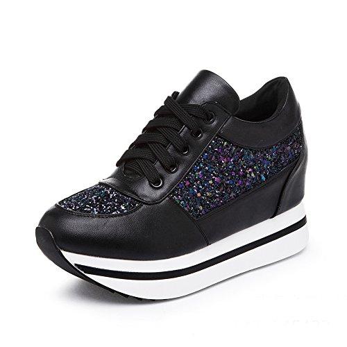 GIY Women Fashion Sneaker Round Toe Increased Height Wedge Platform Lace-up Casual (Lace Up Platform Saddle Shoe)